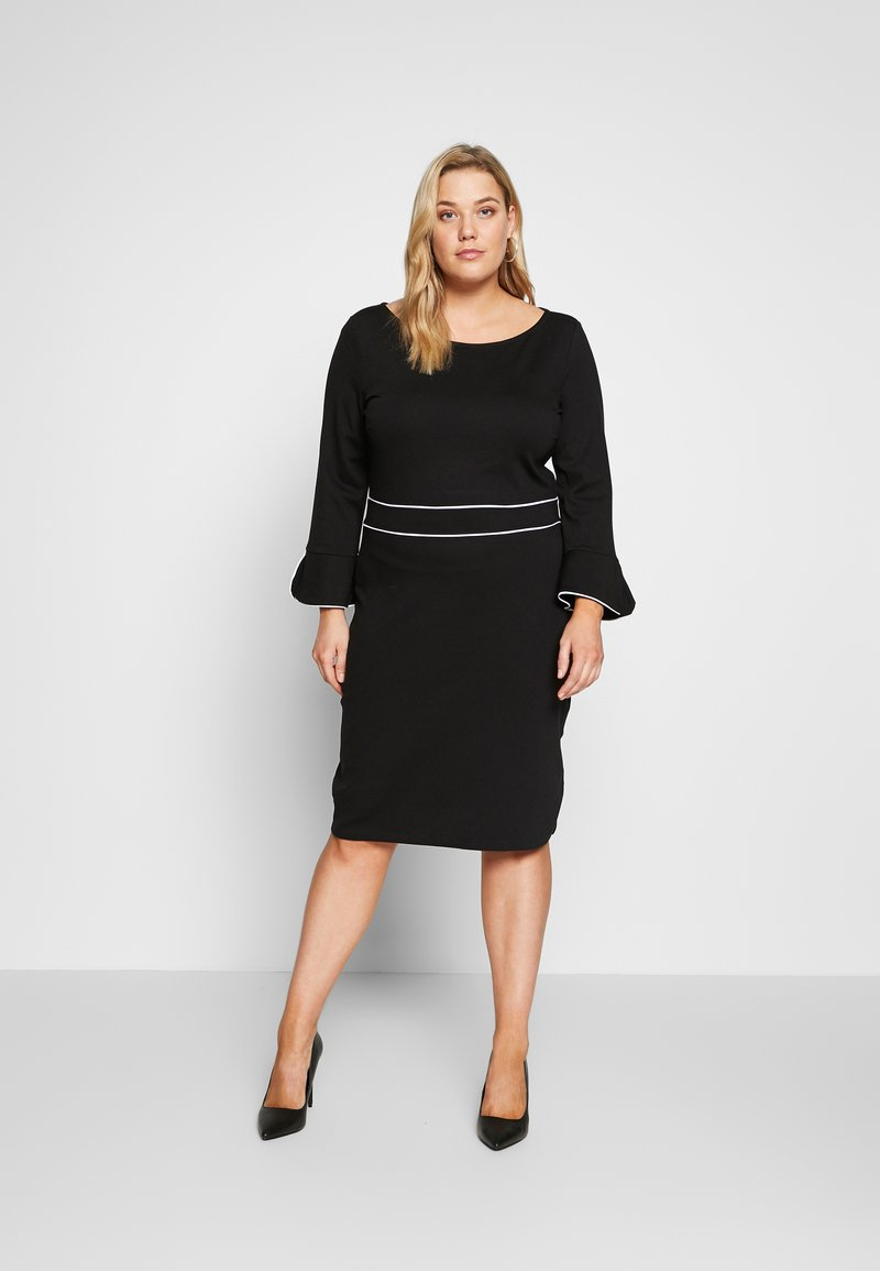 Anna Field Curvy - Jersey dress - black/white