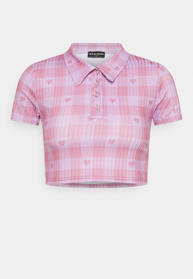HEART GINGHAM - T-shirt con stampa - purple