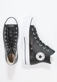 Converse - CHUCK TAYLOR ALL STAR LIFT CLEAN - High-top trainers - black/white - 3