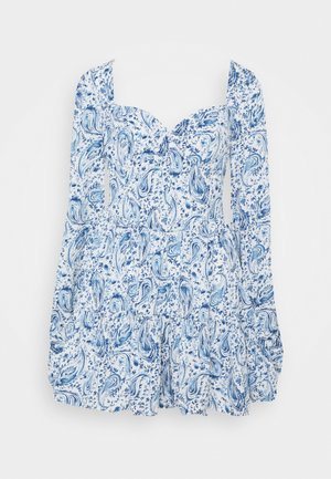 PAISLEY BUTTON TRHOUGH SWEETHEART DRESS - Day dress - blue