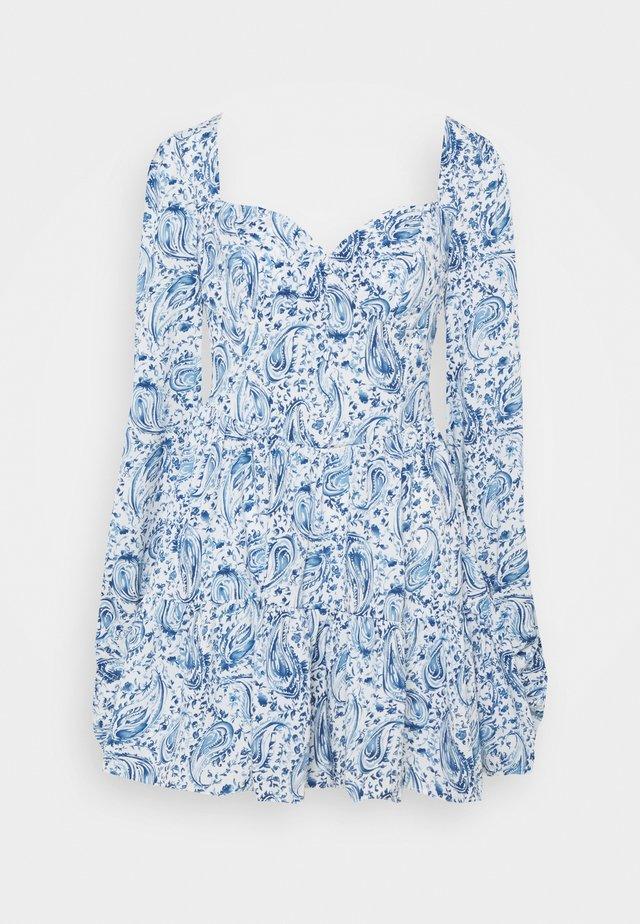 PAISLEY BUTTON TRHOUGH SWEETHEART DRESS - Kjole - blue