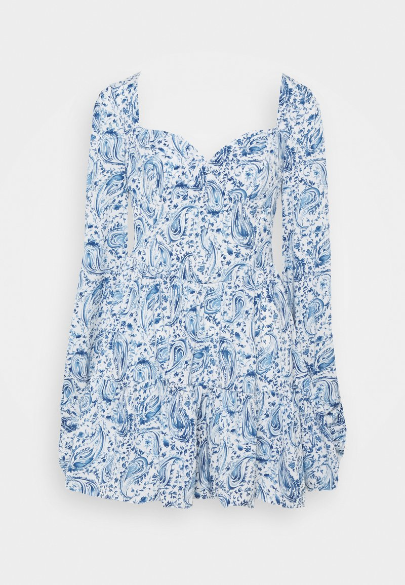 Missguided - PAISLEY BUTTON TRHOUGH SWEETHEART DRESS - Denní šaty - blue