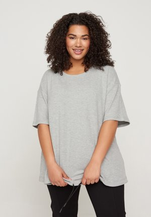 Print T-shirt - light grey melange