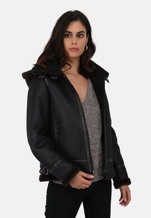 GLORIA - Faux leather jacket - black
