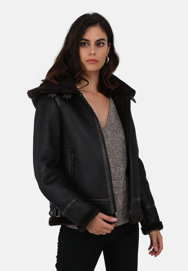GLORIA - Faux leather jacket - black