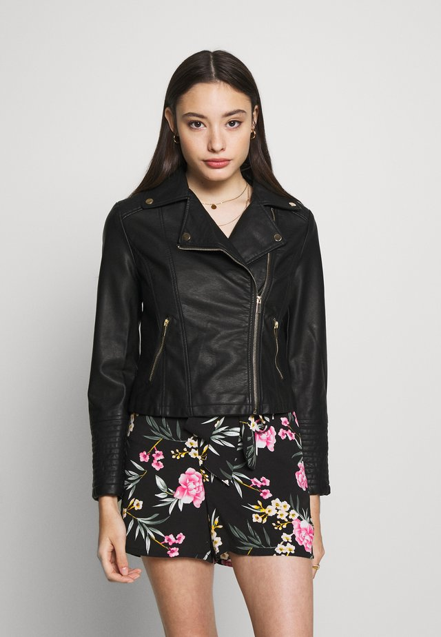 AFFODIL QUILTED BIKER - Faux leather jacket - black