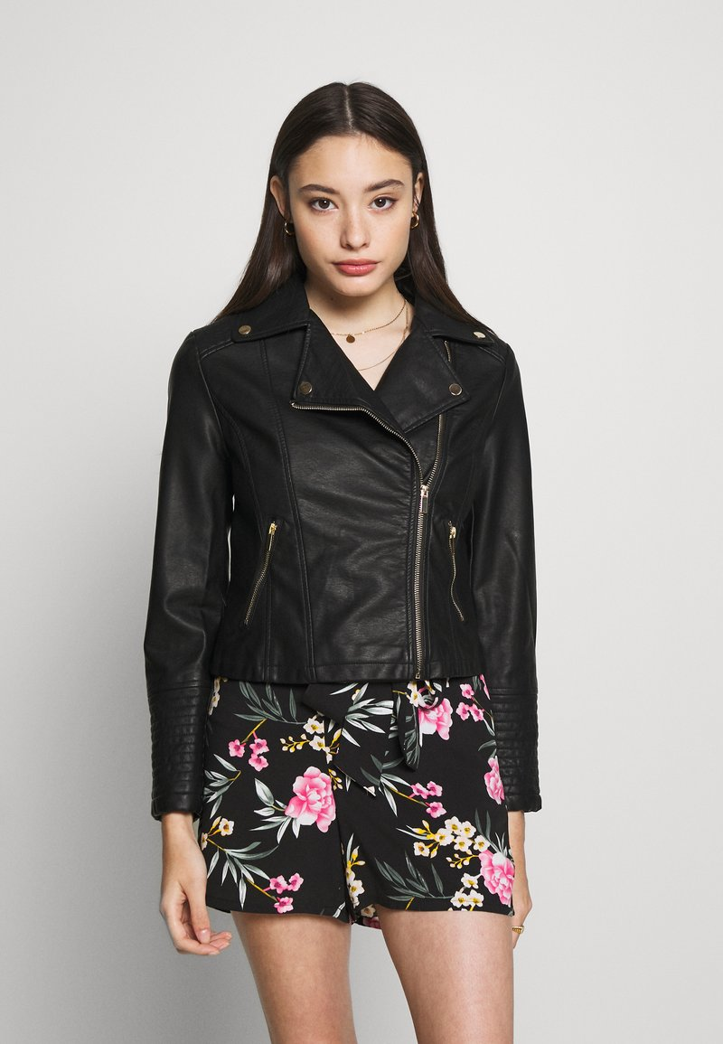 New Look Petite - AFFODIL QUILTED BIKER - Veste en similicuir - black