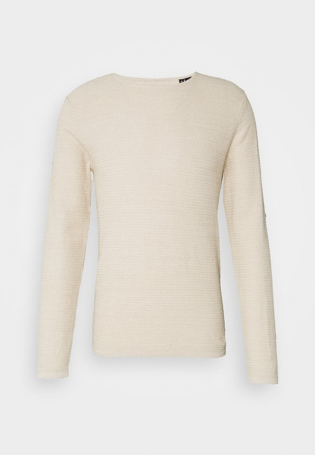 JJTHEO CREW NECK - Strickpullover - oatmeal/twisted with cloud dancer