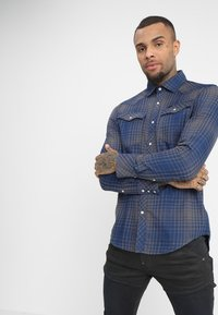 G-Star - 3301 SLIM - Shirt - indigo/carbid - 0