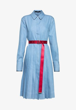 DRESS LOGO BELT - Shirt dress - mid blue