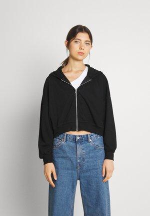 Ribbed zip though hooded sweat jacket - Tröja med dragkedja - black