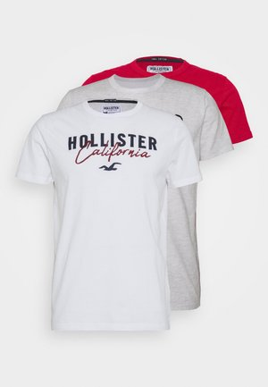 3 PACK - T-shirt imprimé - white/grey/red