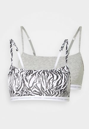 CK ONE UNLINED BRALETTE 2 PACK - Bustier - grey heather/glass tiger print