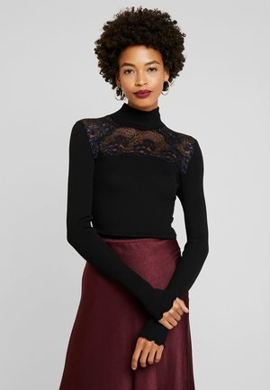 SILK-MIX T-SHIRT TURTLENECK REGULAR LS W/LACE - Top s dlouhým rukávem - black