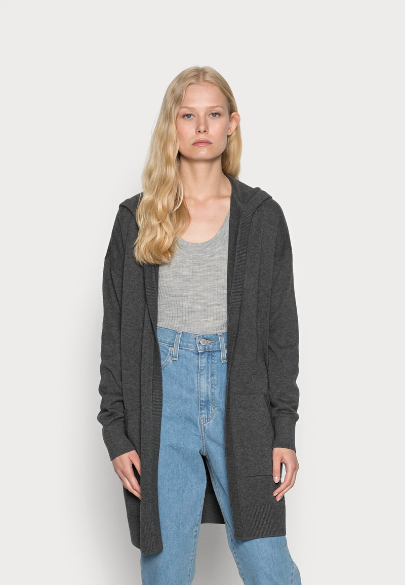 edc by Esprit - LONG HOODED - Cardigan - anthracite