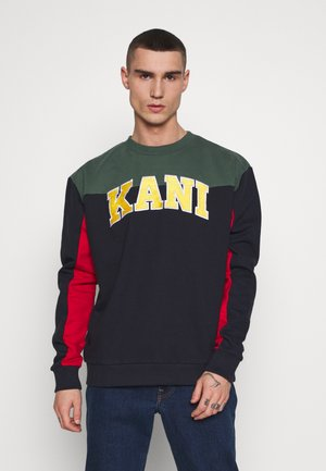 COLLEGE BLOCK CREW - Mikina - navy/green/red/yellow/white