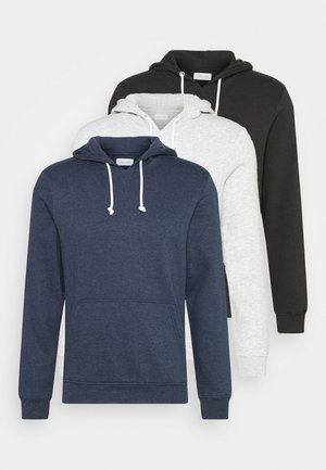 3 PACK - Bluza z kapturem - dark blue/black/grey