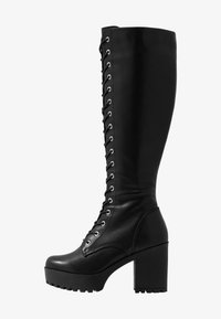 Even&Odd - LEATHER PLATFORM LACEUP BOOT - Boots med høye hæler - black - 1