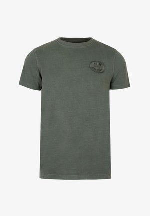 WITH EMBROIDERY ON THE CHEST - Print T-shirt - khaki