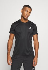 adidas Performance - RESPONSE RUNNING SHORT SLEEVE TEE - T-shirt z nadrukiem - black - 0