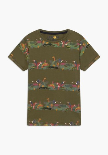 TEEN BOYS  - Print T-shirt - burnt olive