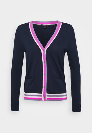 STRIPE PLACKET V CARDI - Cardigan - navy