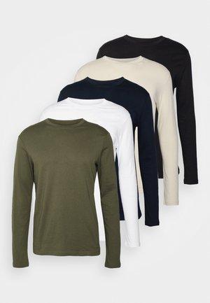 5 PACK - Langærmede T-shirts - blue/white/beige/olive