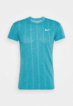 T-shirts print - neon turquoise/white