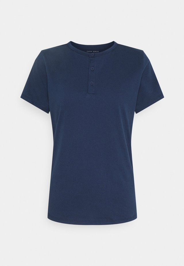 HENLEY TEE - T-shirt con stampa - steel blue