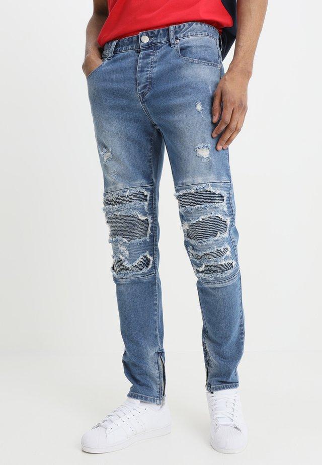 INVERTED BIKER IAN PANTS - Slim fit jeans - mid blue