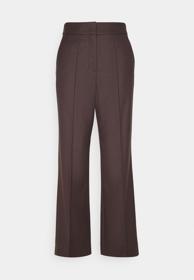 WIDE LEG PANTS HIGH WAISTED PINTUCKS - Trousers - mocca brown