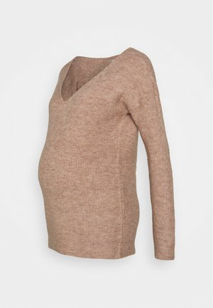 PCMBABETT V NECK - Jumper - natural melange