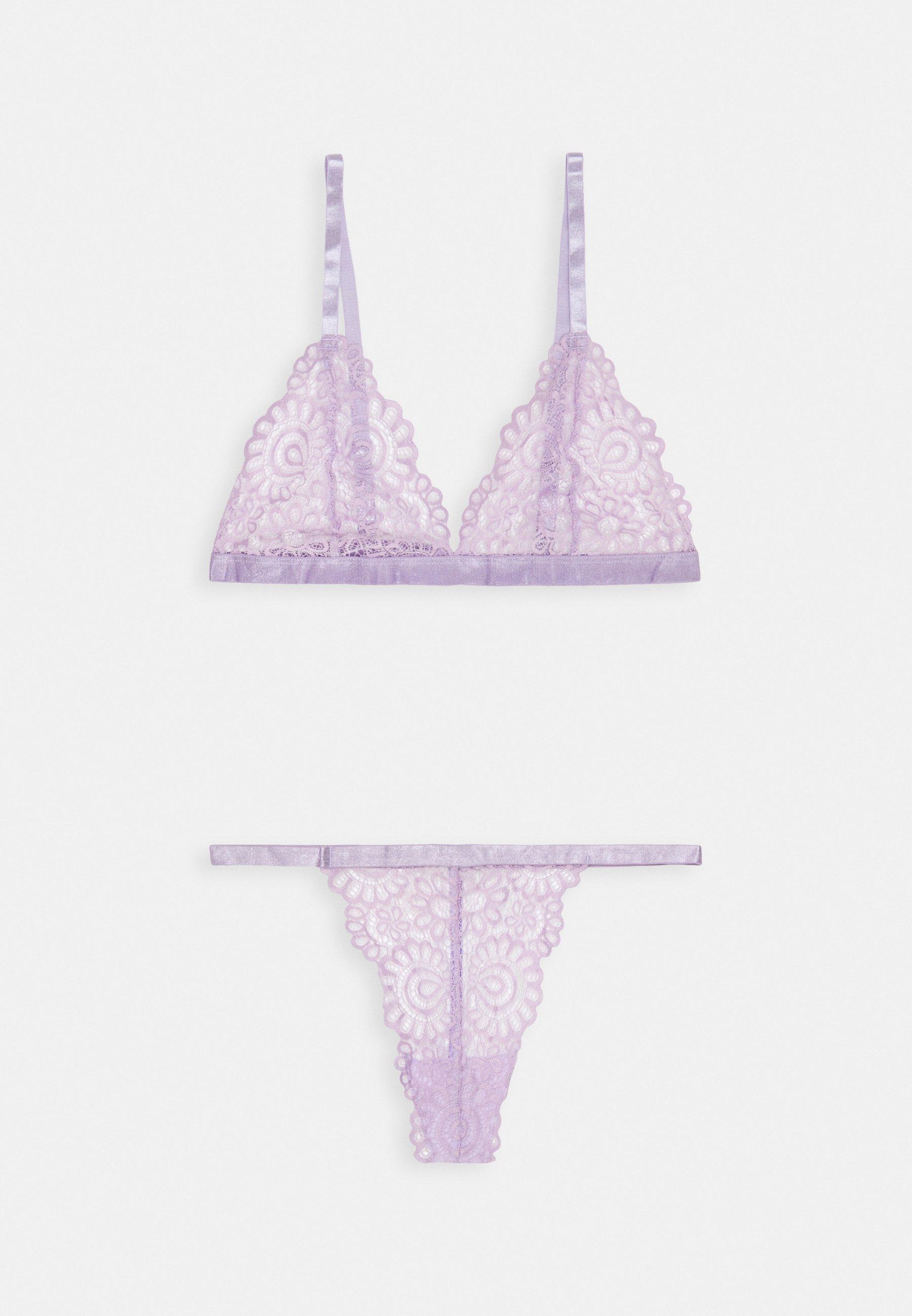 Women TRIANGLE LACE BRA AND THONG SET - Triangle bra