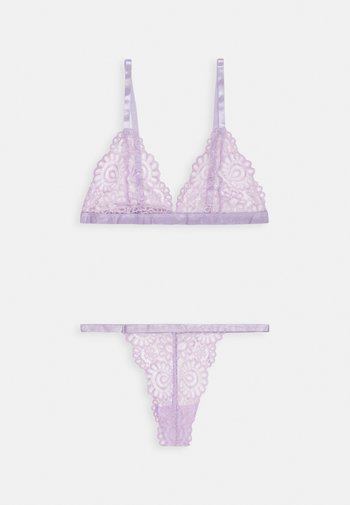 TRIANGLE LACE BRA AND THONG SET - Soutien-gorge triangle - lilac