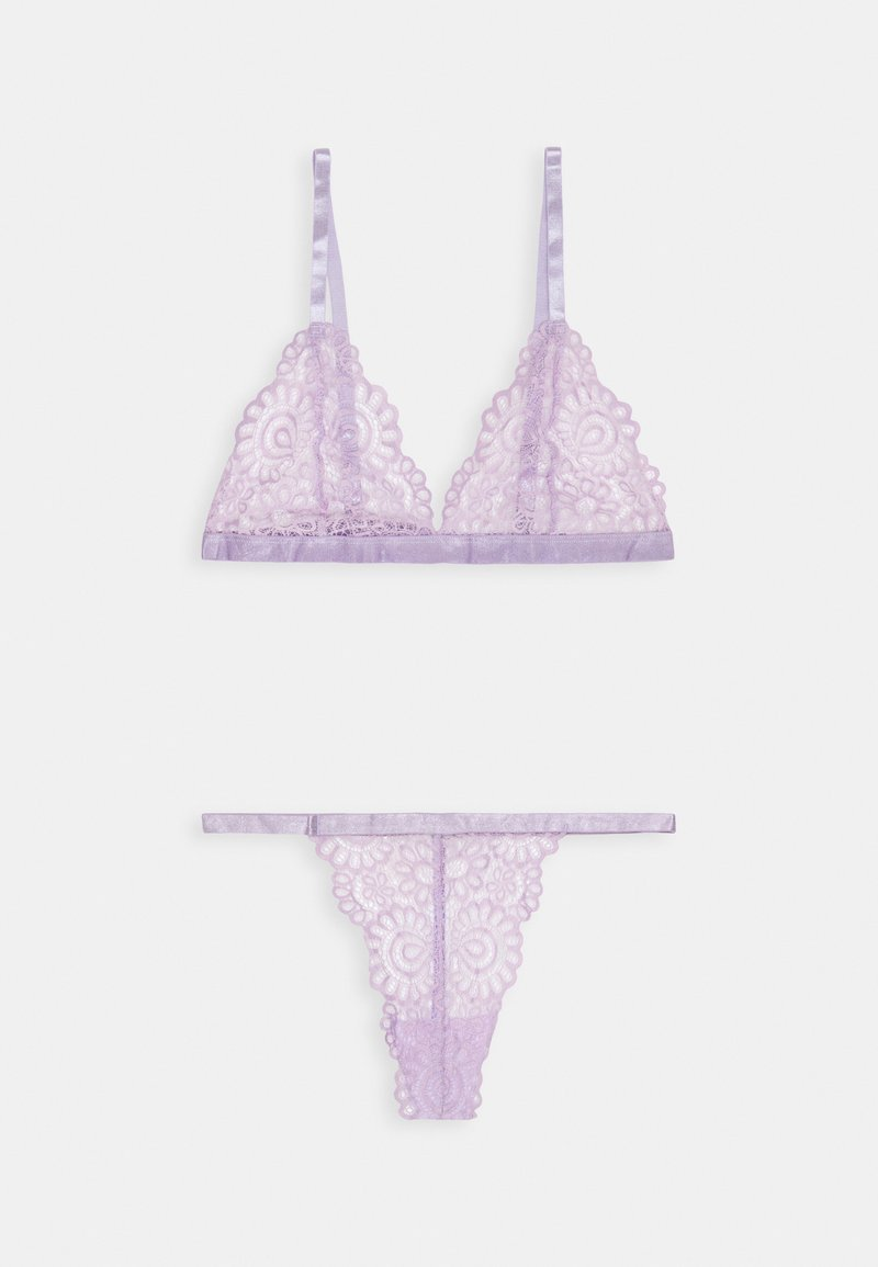 Missguided - TRIANGLE LACE BRA AND THONG SET - Triangel-BH - lilac