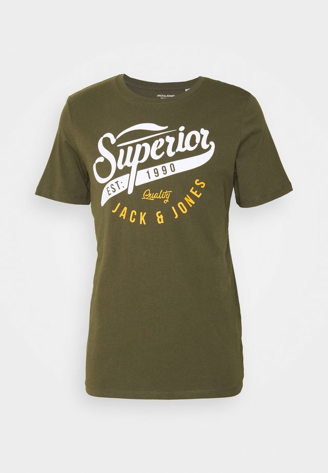 JJELOGO TEE ONECK - T-Shirt print - forest night