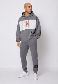 Calvin Klein Jeans - OVERSIZED LARGE BADGE HOODIE UNISEX - Sweatshirt - light grey - 1