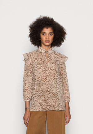 BLOUSE PRINTED WITH RUFFLES - Blouse - beige
