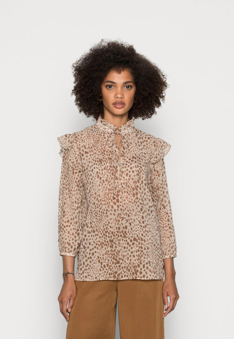 Rich & Royal - BLOUSE PRINTED WITH RUFFLES - Blouse - beige