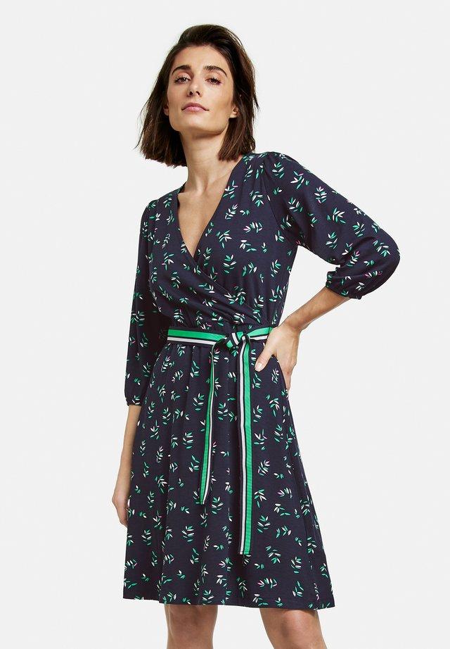 Korte jurk - indigo gemustert