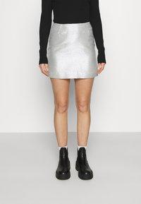 Monki - LUCY SKIRT - Mini skirt - silver - 0