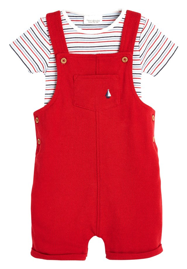 RED DUNGAREES AND BODYSUIT SET (0MTHS-2YRS) - Body / Bodystockings - red