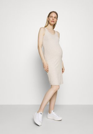 OLMNELLA V NECK DRESS - Jersey dress - oatmeal melange