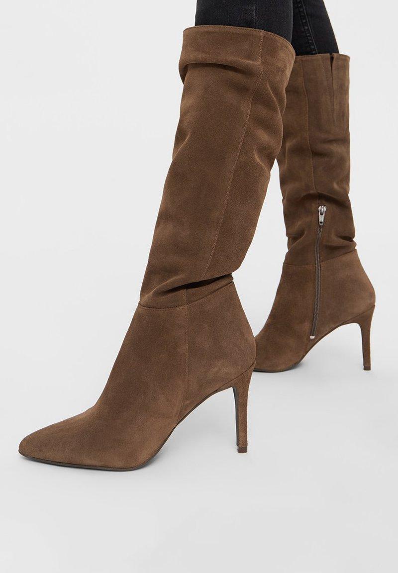 Bianco - BIADANGER LONG BOOT - High heeled boots - mediumbrown1