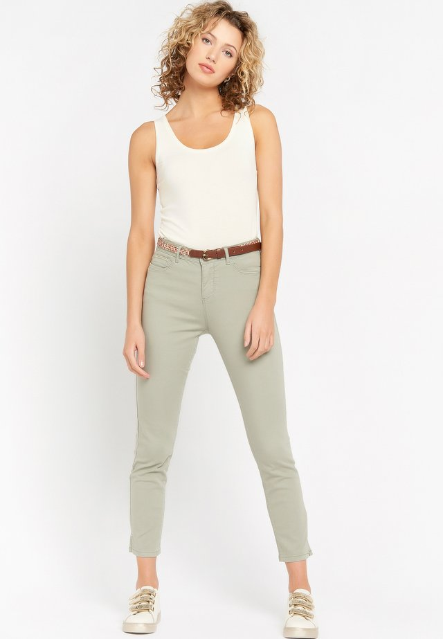 WITH BELT - Slim fit jeans - khaki