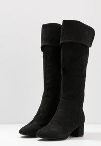 Simply Be - WIDE FIT FELICITY FOLD DOWN KNEE HIGH BOOT - Overknees - black - 4