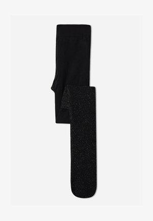 GEMUSTERTE - Strømpebukser - schwarz - black ribbed glitter longuette