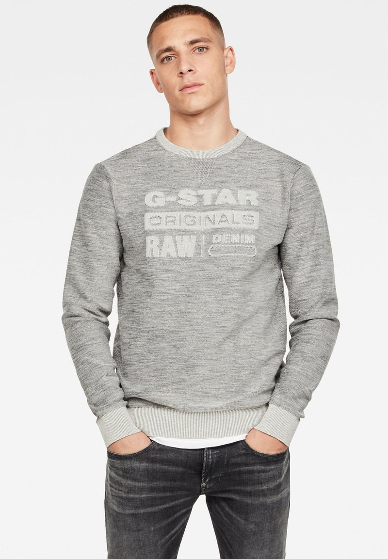 G-Star - PREMIUM CORE LOGO ROUND LONG SLEEVE - Trui - cool grey