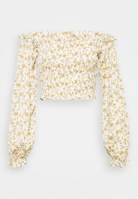 Missguided Tall - FLORAL FRILL DETAIL SHIRRED CROP  - Blouse - cream - 0