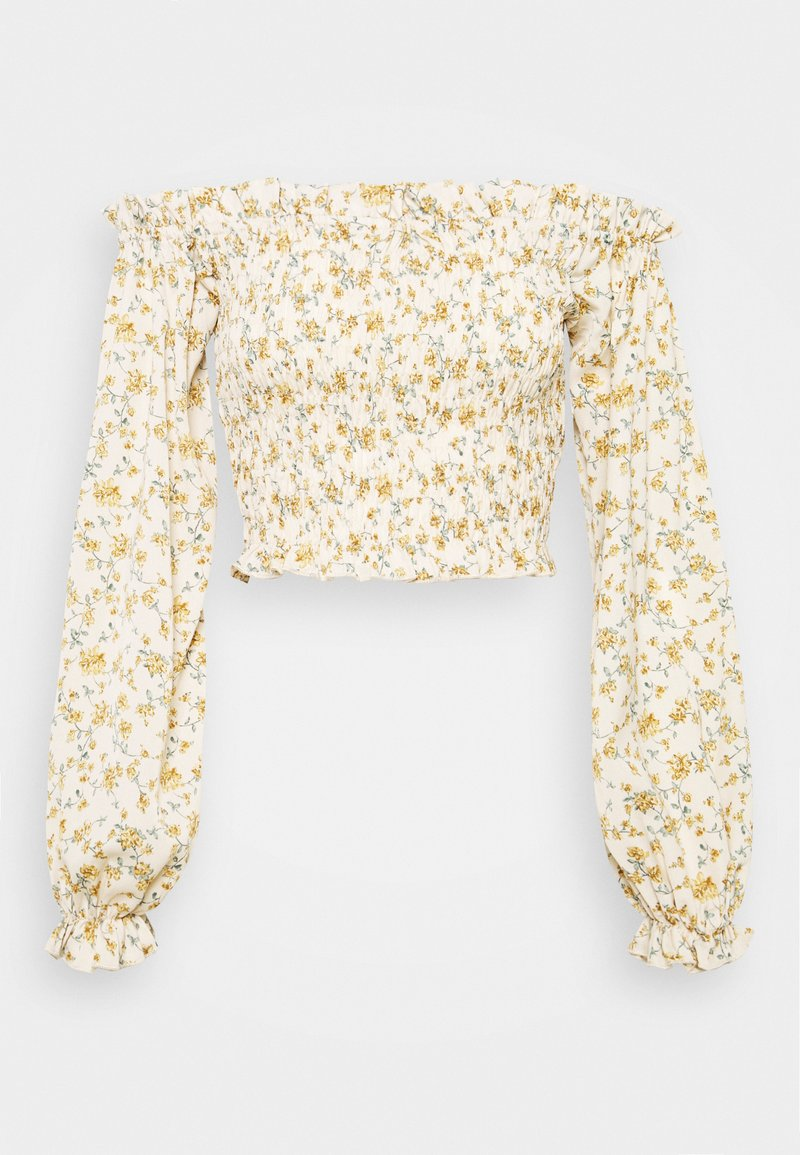 Missguided Tall - FLORAL FRILL DETAIL SHIRRED CROP  - Blouse - cream